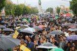 راهپیمایی ۲۲بهمن در جیرفت زیر باران برگزار شد / ۶۴تصویر
